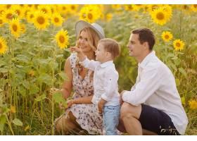 幸福的年轻家庭母亲父亲和儿子在向日_9409631
