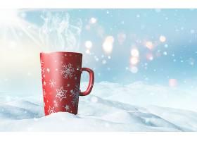 依偎在雪地里的圣诞杯_958341