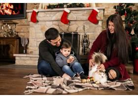 一家人在圣诞节时坐在烟囱边_1469458