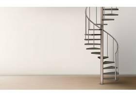 空荡荡的家居室内设计中的螺旋楼梯_5902367