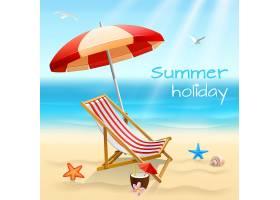 暑假海滩背景海报配椅子海星和鸡尾酒矢量插_4526592