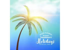 暑假阳光明媚的背景下有热带树木_4607182