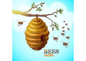 树枝上的蜜蜂和蜂巢背景矢量插图_1158204