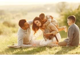 可爱的一家人在夏日田野里玩耍_9247197