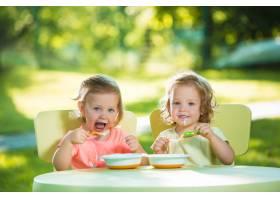 两个小女孩坐在一张桌子旁一起在绿色的草_9368666