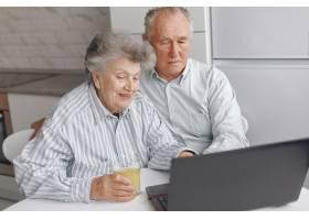 优雅的老两口坐在家里用笔记本电脑_7376601