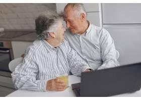 优雅的老两口坐在家里用笔记本电脑_7376602