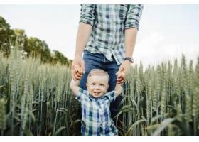 一名男子在麦田中牵着她儿子的手_8316224