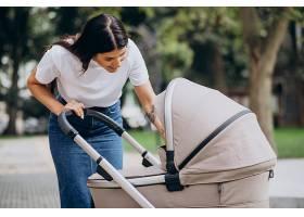 年轻的母亲推着婴儿车在公园里散步_10298548