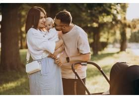 年轻的家庭带着婴儿在公园散步_10025296