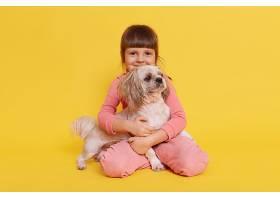 可爱的小女孩抱着她的宠物狗孤立在黄色上_13034707