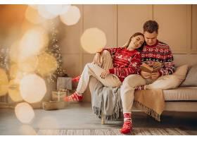 一起在圣诞树旁看书_12177581