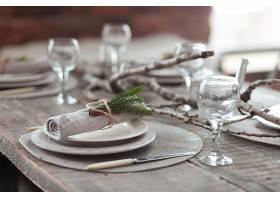 乡村风格的圣诞节供应木桌桌上摆放着复古_2462192