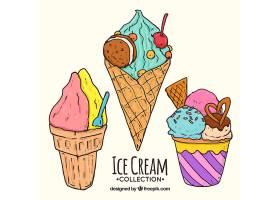 各式各样的手绘夏季冰淇淋_1145037
