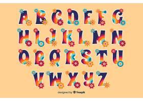 60年代风格的五颜六色的花卉字母_5480253