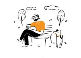 那位老人坐在公园的椅子上悠闲地和他的狗_12332959