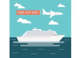 邮轮和飞机旅行矢量插图一艘大型客轮在热_10703022