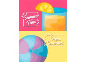 配有鸡尾酒和气球的夏季度假海报_4725235
