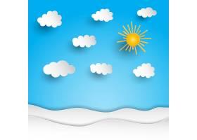 阳光明媚的风景剪纸设计_1111426