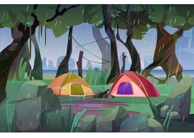 雨天在森林里搭帐篷的夏令营_13239014