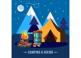 露营平台配有徒步旅行设备和户外烹饪图标_3332322