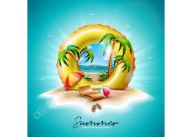 黄色的漂浮和充满异国情调的棕榈树_5086808