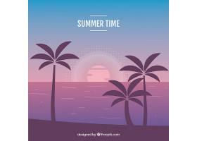 美丽日落的热带天堂海滩_2730523