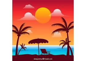 美丽日落的热带天堂海滩_2730528