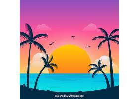 美丽日落的热带天堂海滩_2730529