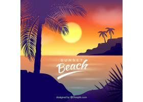 美丽日落的热带天堂海滩_2730532