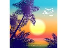 美丽日落的热带天堂海滩_2730533