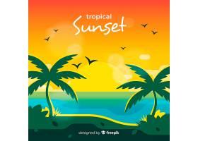 美丽日落的热带天堂海滩_2730534