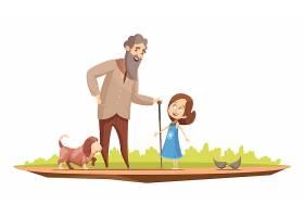老人手持拐杖与小女孩和小狗在外面散步复古_4358834
