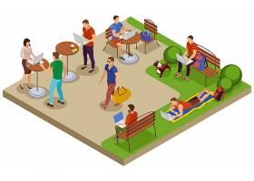 自由职业者典型的夏日等长构图与城市公园_6847321