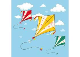 蓝天上的三只五颜六色的风筝_1624406