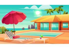 豪华热带度假酒店卡通矢量餐桌上有鸡尾酒_4393929