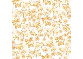 蜜蜂无缝图案复古风格的蜂巢素描插图_4102384