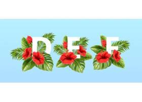 被夏天的热带树叶和红色的芙蓉花围绕着的a_13278689