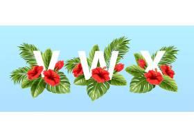 被夏天的热带树叶和红色的芙蓉花围绕着的v _13278679