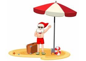 身穿夏装的圣诞老人手持酒杯卡通人物_11829994