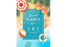 逼真的夏日派对传单模板_7825550