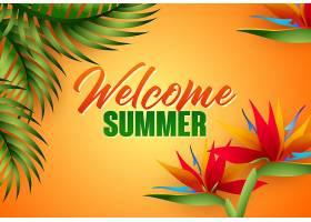 用热带树叶和花朵欢迎夏天的字样_4445036