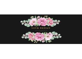 用粉色玫瑰鲜花和叶子镶嵌的花卉婚礼横幅_12847463