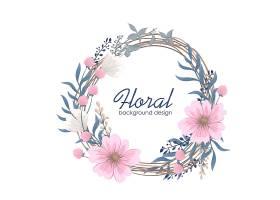 画粉红色花朵的花环_6552044