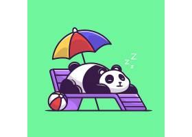 睡在沙滩长凳上的可爱熊猫卡通矢量插图_10244753
