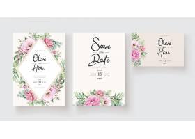 粉色玫瑰鲜花和树叶镶嵌的花卉婚礼请柬模_12847445