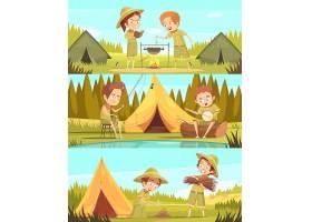 童军夏令营活动3复古卡通横幅设置营火烹饪_4385955