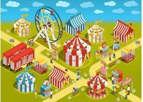 游乐园马戏团景点等距插图_4016551
