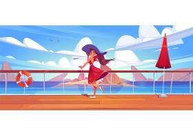 游轮甲板或码头上的女人在海景上穿着夏装_12569325