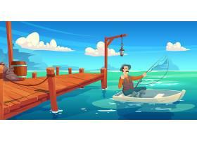 湖里有木质码头船上有渔民夏季风景卡通_10308168